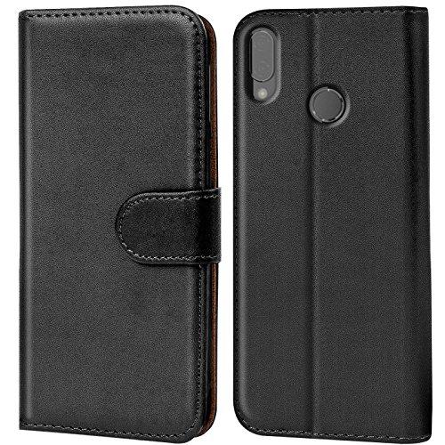 Verco P20 Lite Hülle, Handyhülle für Huawei P20 Lite Tasche PU Leder Flip Case Brieftasche - Schwarz