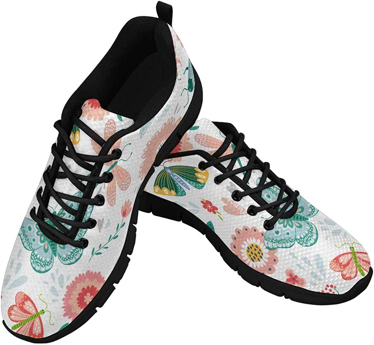 INTERESTPRINT Pattern with Insects and Flowers Women's Tennis Running Shoes Lightweight Sneakers