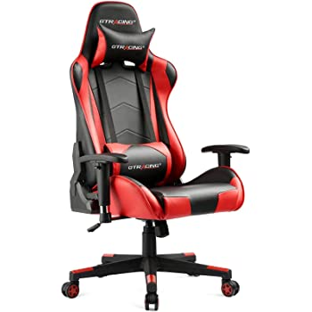 GTRACING Gaming Chair Racing Office Computer Ergonomic Video Game Chair Backrest and Seat Height Adjustable Swivel Recliner with Headrest and Lumbar Pillow E-Sports Chair (Red)