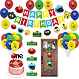 44PCS Sesame Street Theme Balloons 1st Birthday Party Supplies Backdrop Decorations Kit,1 Year Elmo Friends and Cookie Monster Cake Topper Banner for Toddlers Boy Girl Kids Birthday Baby Shower