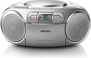 Philips AZ127/05 Portable CD Player with Radio, CD Soundmachine (Autostop cassette deck, Dynamic Bass Boost, Audio-In 3.5 ...