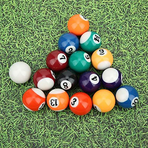 Chanmee Bola de Billar de 32 mm, 16 Piezas de Mini Bola de Billar de 32 mm, Resina de poliéster ecológica 15 Bolas numeradas y 1 Bola Blanca para Juegos de recreación Deportiva, Salas de Juegos