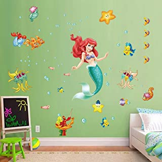 decalmile The Little Mermaid Ariel Wall Stickers Underwater Princess Girls Wall Decals Baby Girls Bedroom Kids Room Wall Decor