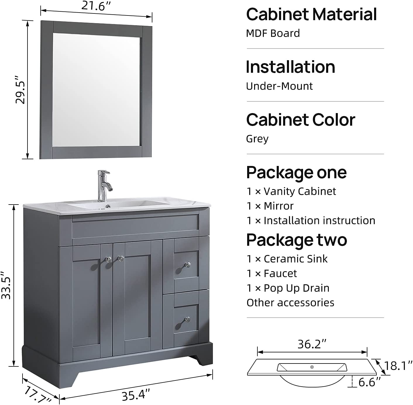 Buy Wonline 36 Grey Bathroom Vanity And Sink Combo Cabinet Undermount Ceramic Vessel Sink Chrome Faucet Drain With Mirror Vanities Set Online In Turkey B08xb52l3h