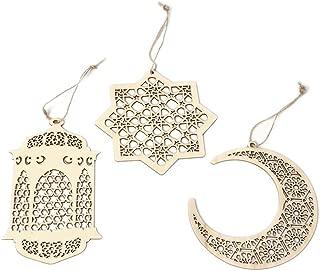 Islam Eid Ramadan Mubarak Hollow Decorations Wooden Golden Hanging Lantern Baubles Festive DIY Home Decorations