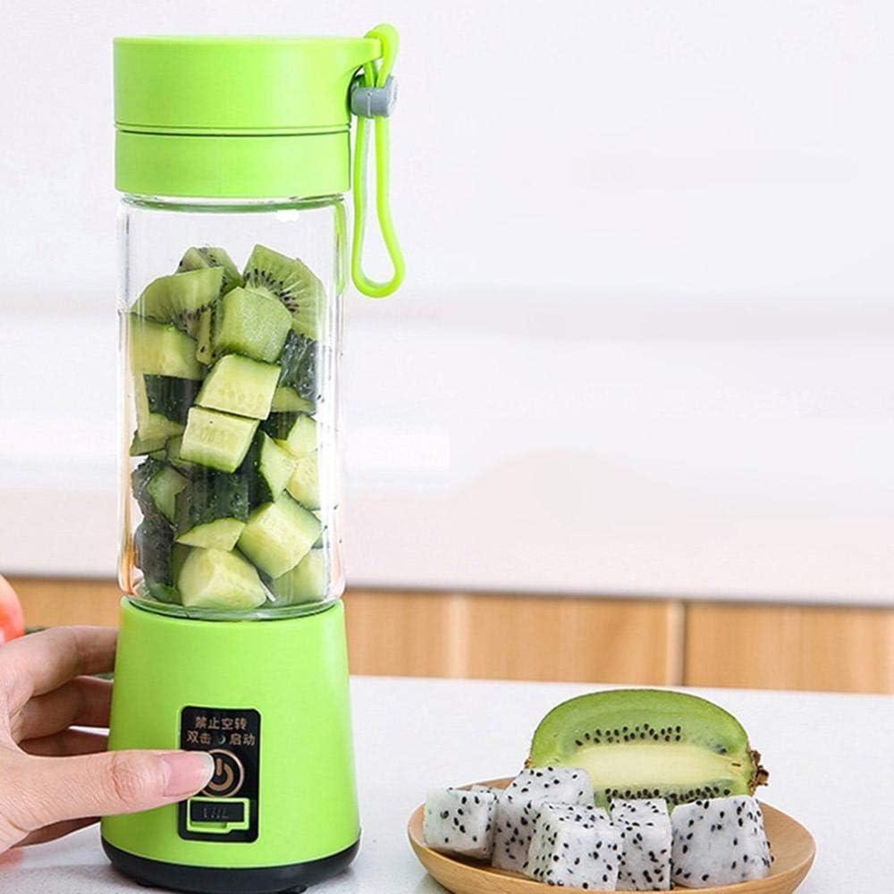zyl Exprimidor de Frutas eléctrico Batidora de Mano Licuadora Recargable Mini Taza de Jugo portátil Agua Verde Claro Light Green
