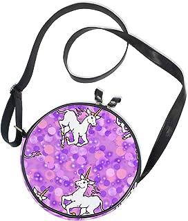 Emoya Runde Tasche, Einhörner, lila Punkte, Segeltuch, Kreis, für Damen/Mädchen