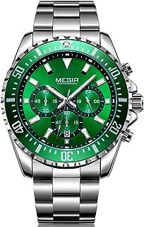 MEGIR Men`s Stainless Steel Business Quartz Watches Wateproof Luminous Chronograph Miitary Wristwatch Man