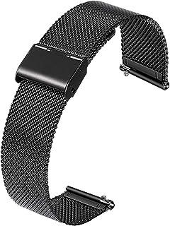 Bracelets de Montre, Bande de Montre pour Remplacer en Acier Inoxydable Libération Rapide (Noir)