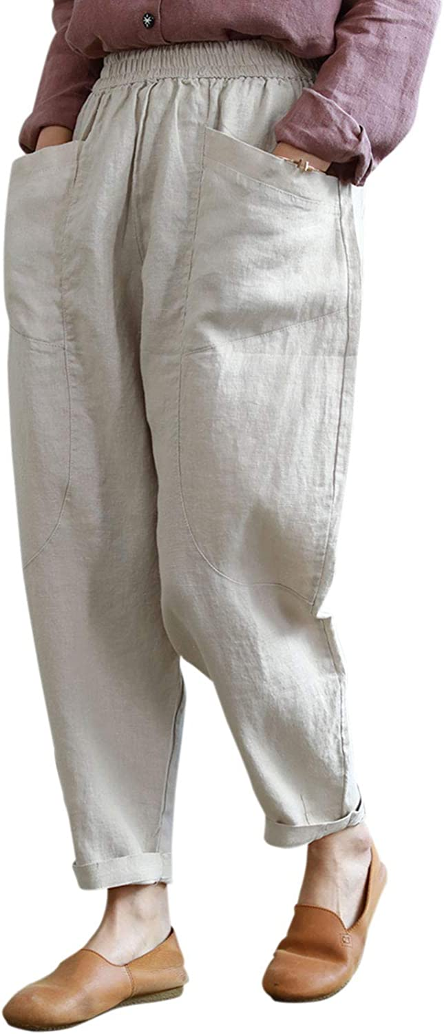 IXIMO Women's Cotton Linen Capri Pants Casual Cropped Tapered Trousers with Pockets