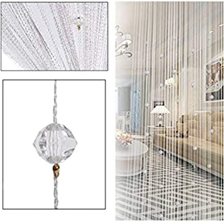Eve Split Decorative Door String Curtain Beads Wall Panel Fringe Window Divider Blind for Wedding Coffee House Restaurant Parts Crystal Tassel Screen Home Decoration(White)