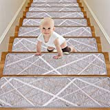 WOTOBAN Stair Treads Carpet Non Slip Self Adhesive,Gery Staircase Mats Set of 13 Pack 8x30 Inch Rugs