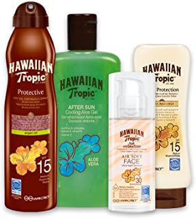 Hawaiian Tropic PACK Piel Morena - Kit con Aceite Seco Bruma SPF 15 + Crema Satin Ultra Radiance SPF 15 + Crema Solar Silk Hydration SPF 30 + Gel Aloe Vera Aftersun