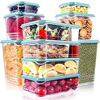 SHOMOTE 10 Pack Food Storage Containers with Lids Airtight Stackable Kitchen Freezer Containers for Food BPA Free Plastic Lunch Containers Microwave & Dishwasher Safe