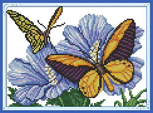 Abillyn - Kit de punto de cruz, diseño de mariposa enamorada con flores estampadas con patrón impreso (mariposa)