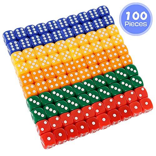 PowerKing Set di Dadi,100 Pezzi Mulitcolor Bulk Game Dices per Gioco di Dadi Tensies, Gioco da Tavolo, Gioco di Matematica, bomboniera, Angolo Rotondo