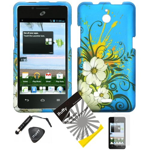 4 items Combo: ITUFFY (TM) LCD Screen Protector Film + Mini Stylus Pen + Case Opener + Blue White Hawaiian Flower Green Vine Design Rubberized Snap on Hard Shell Cover Faceplate Skin Phone Case for Huawei VALIANT Y301 / Straight Talk Huawei Ascend Plus H881C