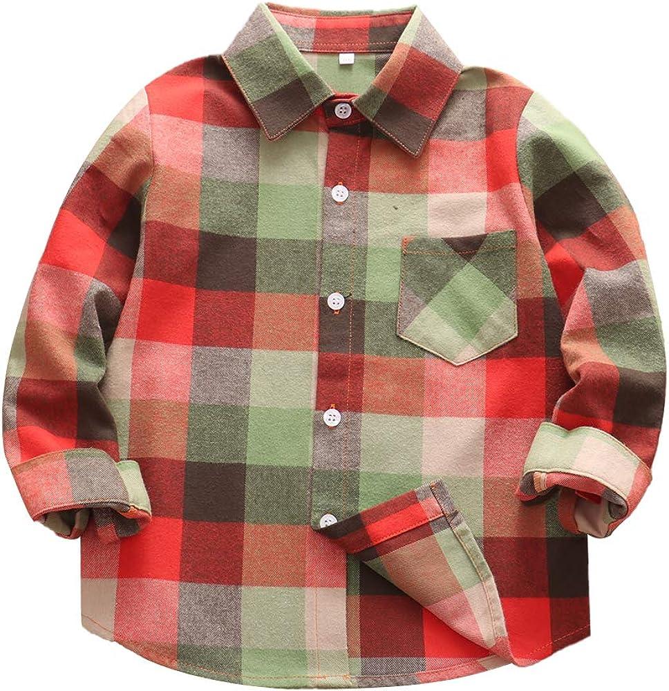 Kids Little Boys Girls Buffalo Plaid Shirt Button Down Long Sleeve Flannel Kids Clothes