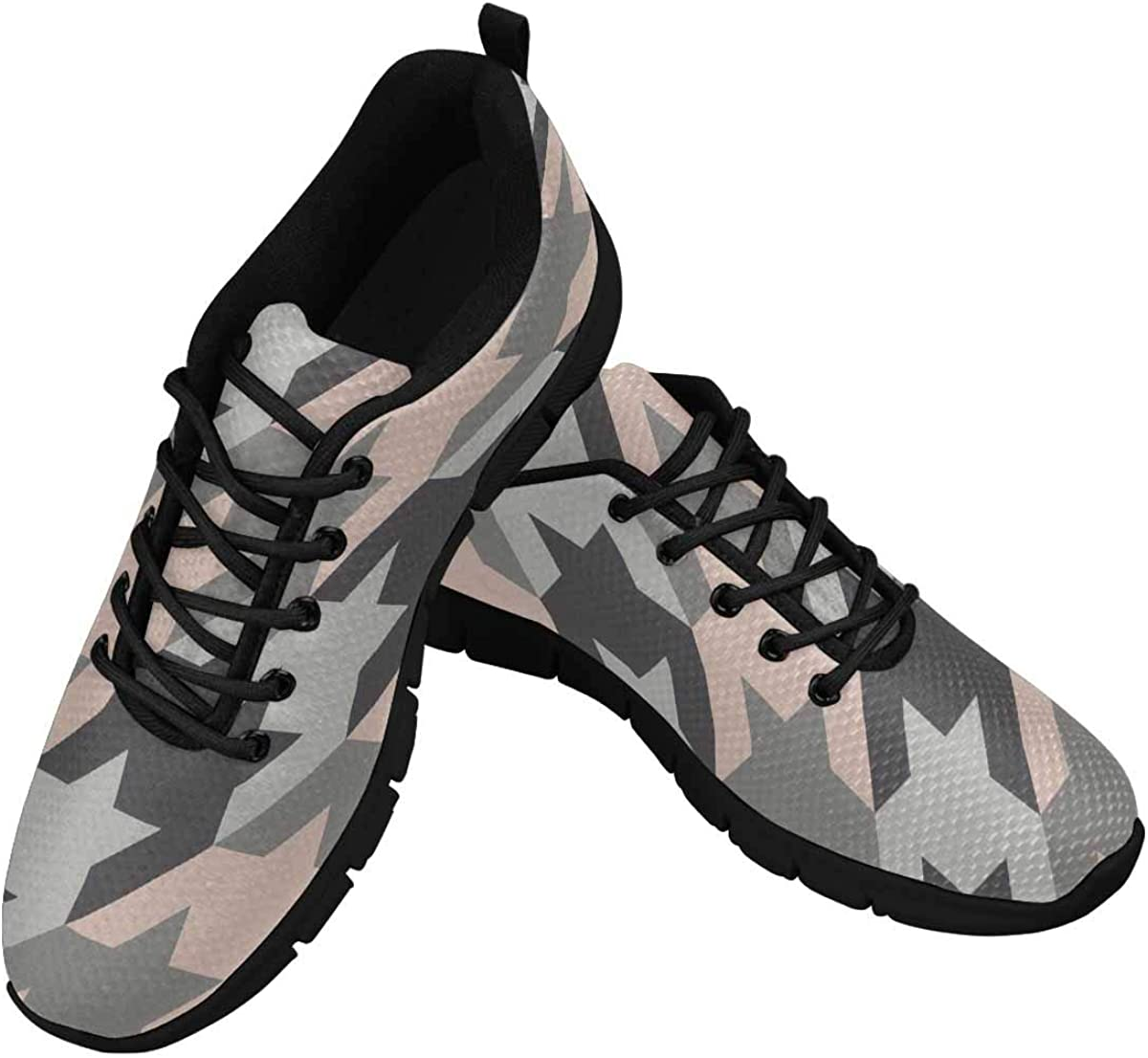 InterestPrint Surface Pattern with Houndstooth Ornament Women's Sneaker Lace Up Running Comfort Sports Shoes