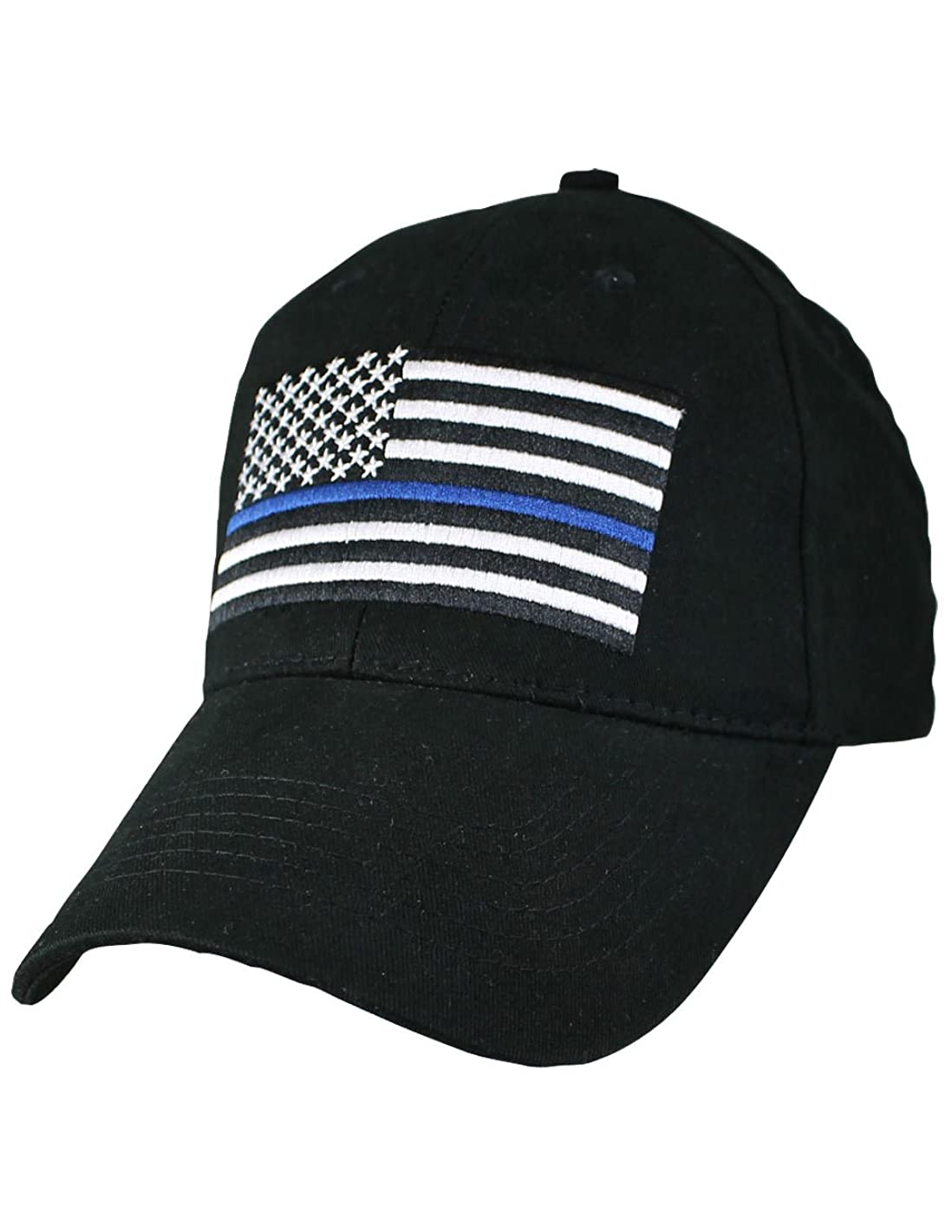 Eagle Crest Police Thin Blue Line with Flag Baseball Cap,Black,Adjustable
