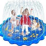 MOZOOSON Splash Pad, 170CM Wasser Spielzeug für Draußen Outdoor Garten, Wasserspielzeug Sprinkler Pool Sommer Anti-Rutsch Spielzeug für Kinder ab 3 4 5 6 7-12 Jahren Jungen Mädchen