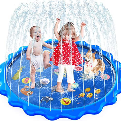 Toddlers Toy - Splash Pad, Sprinkler & Splash Play Mat for Toddlers, Inflatable Outdoor Party Sprinkler Pad Wading Pool with 5 Patches for Kids Age 2+, Water Toys for Summer Outdoor Garden Beach-68'