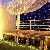 Rideau Lumineux, Guirlandes Lumineuses 300 Led 3m*3m,8 Modes d'Eclairage, Basse Tension 31V, Decoration de Fenêtre, Noël, Mariage, Anniversaire, Maison, Patio, Etanche IP44