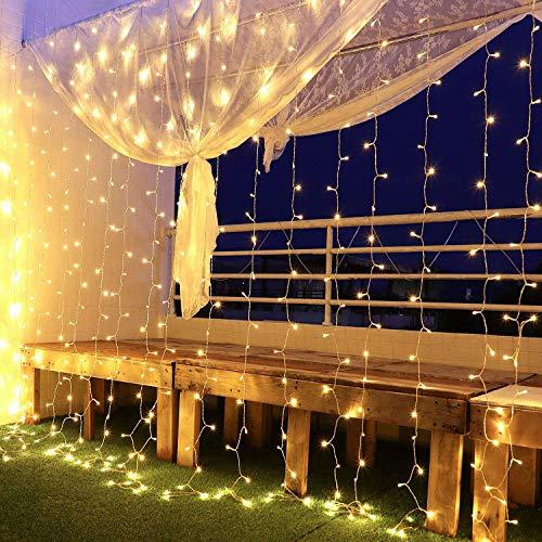 Tenda Luci Led 3 x 3 m, Tenda Luminosa Natale Esterno Impermeabilità IP44 Tenda Luminosa con 8 Modalità di Illuminazione per Natale, Interno, Camera da Letto, Giardino(Bianco Caldo)