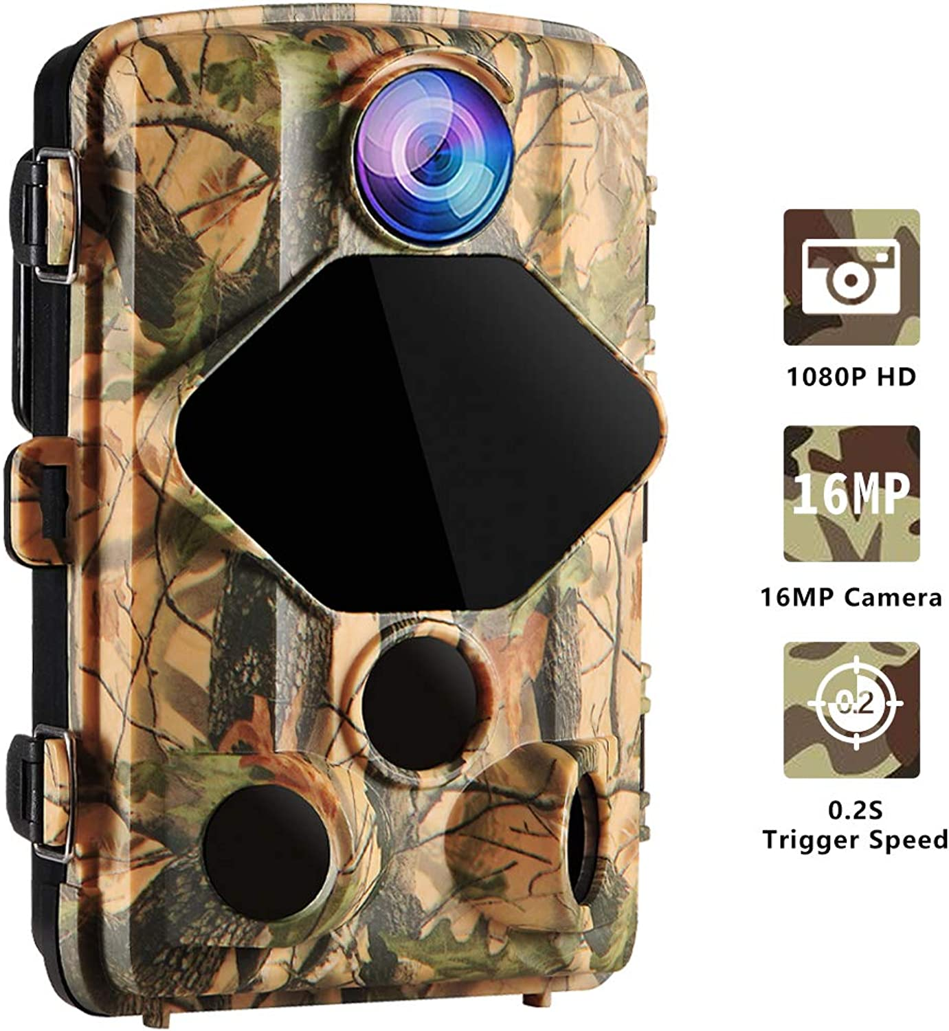 Wansview Trail Hunting Camera 16MP 1080P HD, with 0.2S Trigger Time Motion Detection and 120 Degree Viewing Angle and Night Vision for Wildlife and Home Security Cam T01