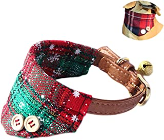 QUMY Small Dog and Cat Bandana Adjustable Puppy Buckle Collar Leather Cute Red Bandana Dog Collar with Bell