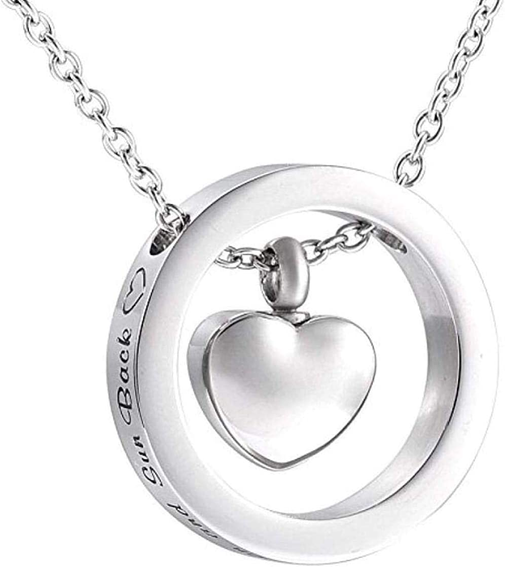 Ashes Chain Cremation Memorial Urn Pendant Jewelry Dog Urn Pendant Necklace I Love You to The Moon and Circle with Ur