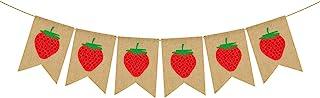 Rainlemon Jute Burlap Strawberry Banner Baby Girl Berry Theme Birthday Party Decoration Supply