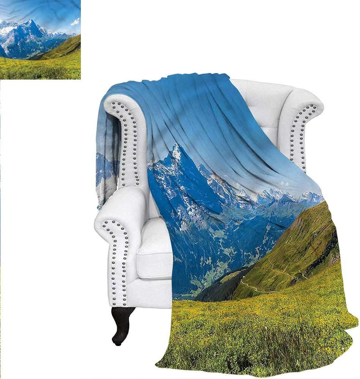 RenteriaDecor Landscape Throw Blanket Sunny Peaks of Swiss Alps Print Image Blanket 60 x50
