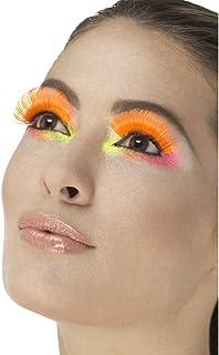 Fever jaren 80 party wimpers, lijm inclusief, één maat, neon oranje, 48083