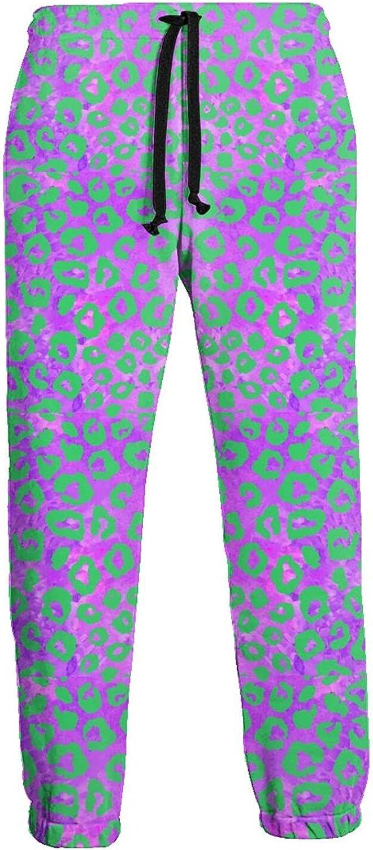 KAWAHATA Purple Leopard Print Men's Pants with Pockets Tapered Athletic Sweatpants 3D Casual Active Sports Pants