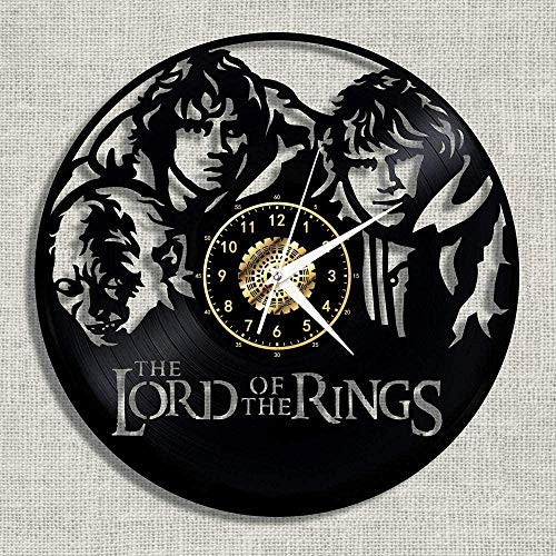 szhao Lord of the Rings vinyl wall clock wall clock nostalgic decoration bedroom handmade with 12 inch LED light