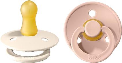 BIBS Schnuller Colour 2er Pack, Naturkautschuk, dänische Schnuller mit Kirschform. Ivory/Blush, Größe 1 0-6 Monate