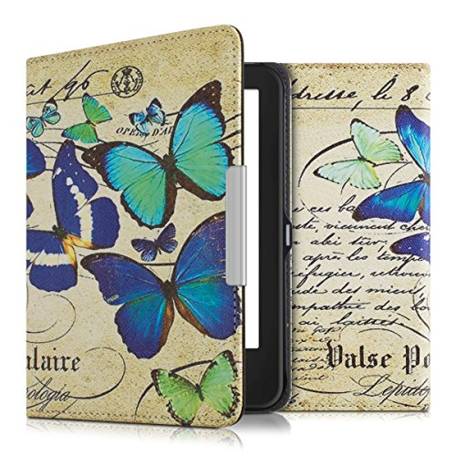 kwmobile Klapphülle kompatibel mit Tolino Shine 2 HD - Hülle eReader - Schmetterlinge Vintage Blau Mintgrün Beige