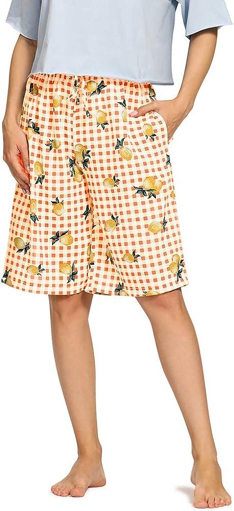 Women's Knee Length Plaid Lounge Pajama Shorts, Soft Sleepwear Bottoms