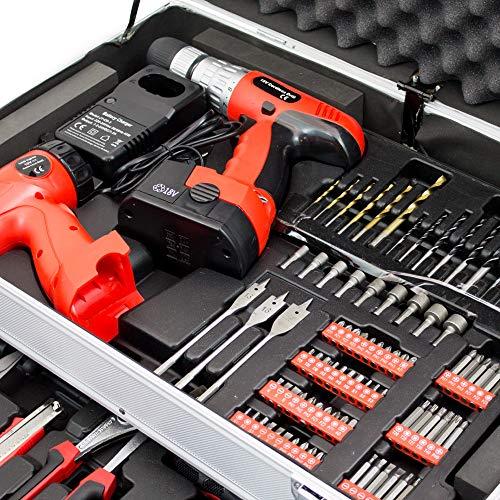 BITUXX® 206 tlg Werkzeugkiste komplett Werkzeugkoffer bestückt Werkzeugkasten gefüllt Schubladen inklusive Akkuschrauber Ratschenringschlüssel Ratschenkasten Knarrenkasten Steckschlüssel Nüsse - 7