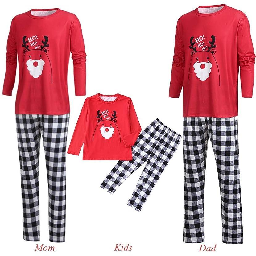 Men Women Kids Baby Family PJS Matching Christmas Pajamas Set Cartoon Letter Deer Top+Plaid Pants (XL, Mom)