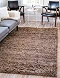 Unique Loom Solo Solid Shag Collection Modern Plush Sandy Brown Area Rug (7' 0 x 10' 0)