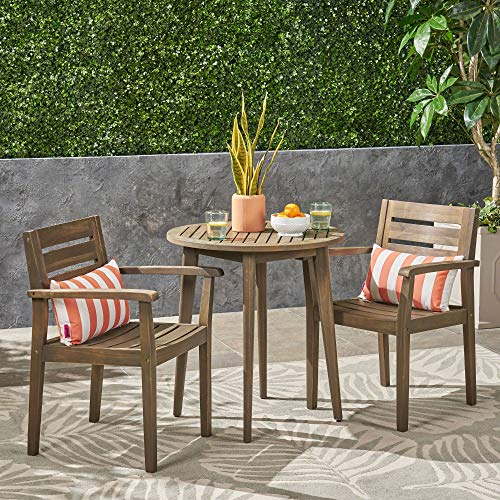 Contemporary Home Living 3pc Brown Traditional Outdoor Patio Bistro Set 33'
