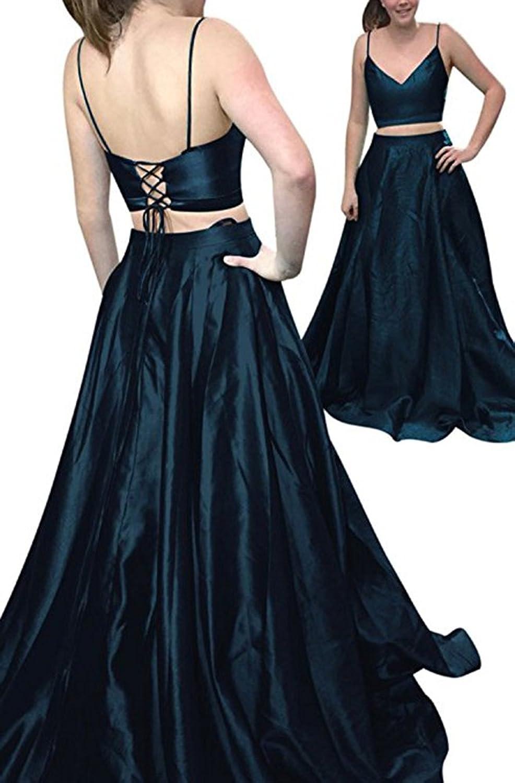 CCBubble 2 Piece Prom Dresses 2018 Spaghetti Straps Satin Prom Dress