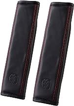 U&M 2 pcs Soft Leather Seat Belt Covers, Seatbelt Shoulder Strap Pad for Car, Truck, SUV, Airplane,Carmera Backpack Straps - Genuine Leather (Black)