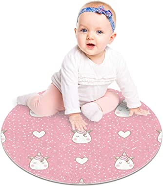 Floor Mat Cute Unicorns Head with Hearts Snow Dot Modern Round Rug Living Room Bedroom Bathroom Kitchen Floor Mat Home Decor