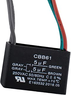 Wadoy CBB61 Ceiling Fan Capacitor 4 Wire for New Tech 250VAC 50/60Hz 5uf+5uf