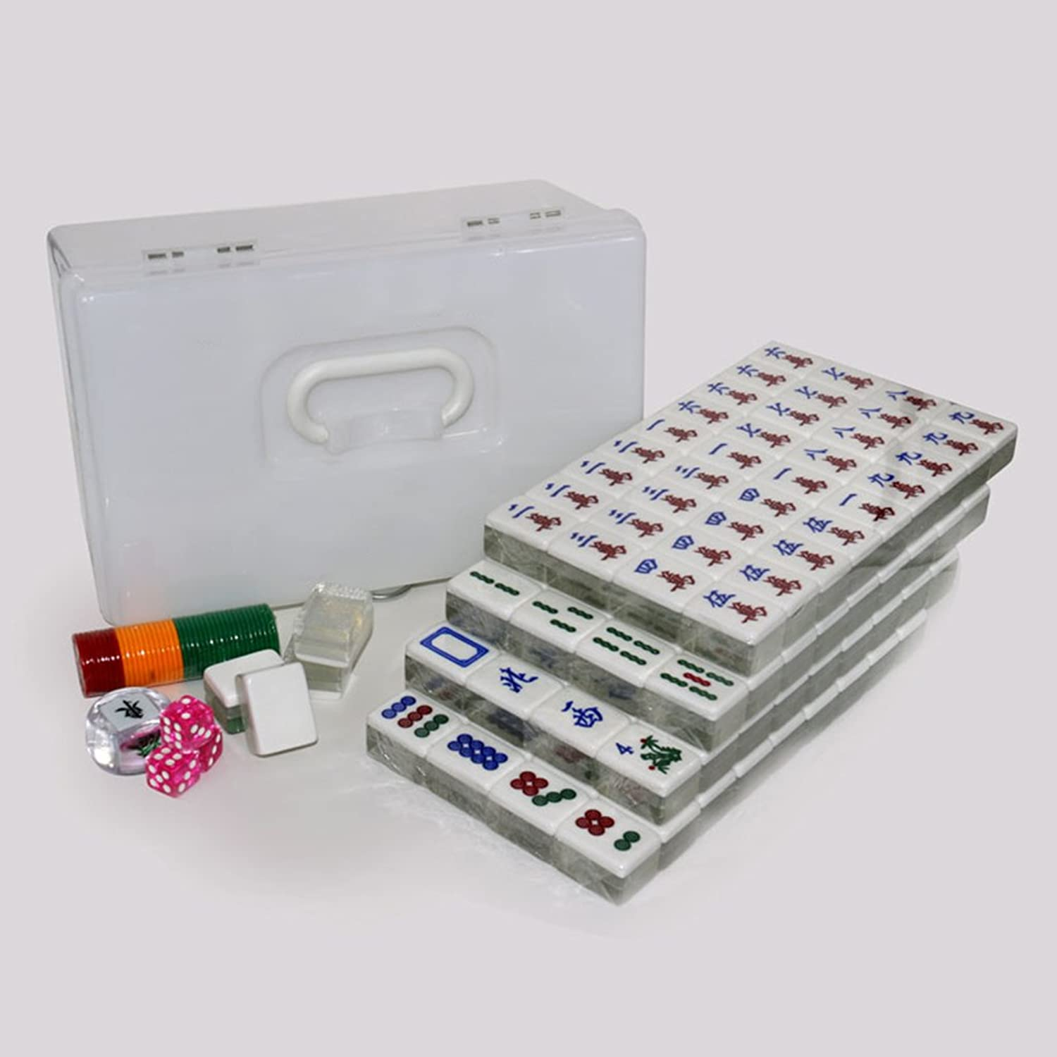 LI JING SHOP - Home Acrylic Two colors crystal gold wire Mahjong, 4.0CM large Hand rubbing Mahjong card size  4.0  3.1  2.1CM ( color   Silver , Size   4.03.12.1CM )