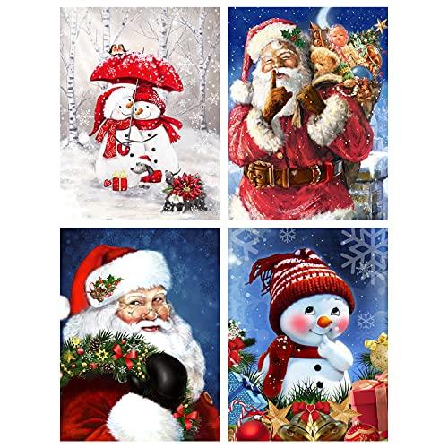 4 Pack Christmas Diamond Painting Kits for Adults, Santa Claus Snowman 5D Diamond Painting Rhinestone Embroidery Full Drill Diamond Art for Christmas Home Wall Decor 12x16 Inch