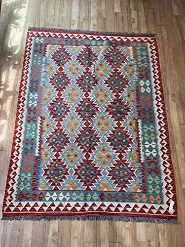 Alfombra oriental afgana hecha a mano Kilim de lana de colores naturales afganos turcos nómada persa tradicional persa 145 x 188 cm vintage corredor pasillo escalera reversible